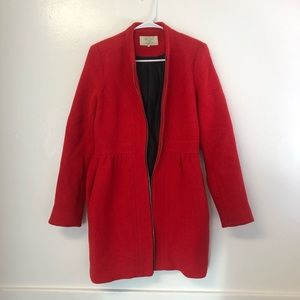 Red pea coat from Zara